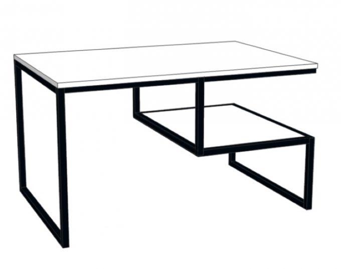 Стол журнальный прямоугольный с мал. полкой на металлическом основании 800х600х520 (Барселона)