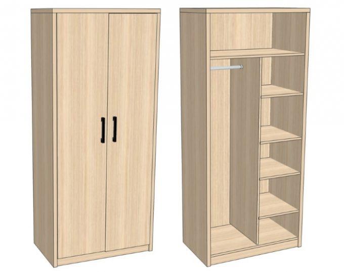Шкаф комбинированный для одежды 900х520х2000 (Токио)