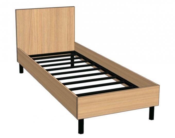 Кровать односпальная со спинкой 32мм